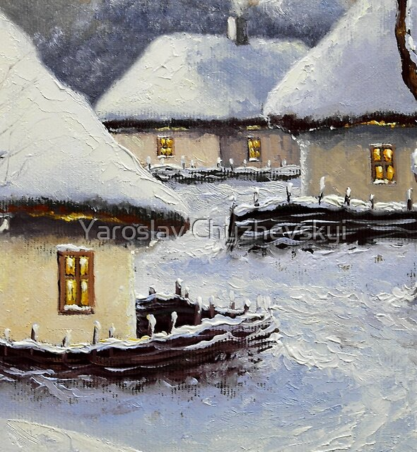 Winter in old village by Yaroslav Chyzhevskyi