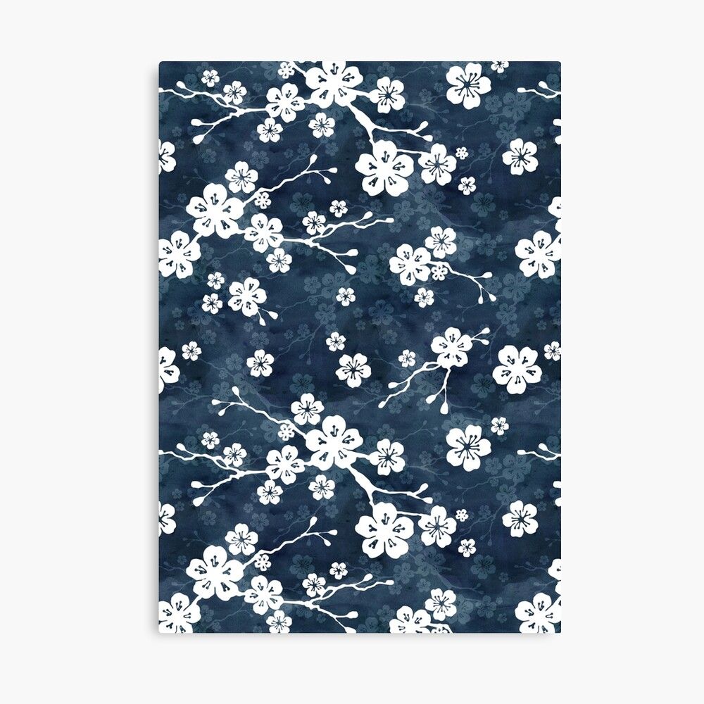 Navy and white cherry blossom pattern Canvas Print