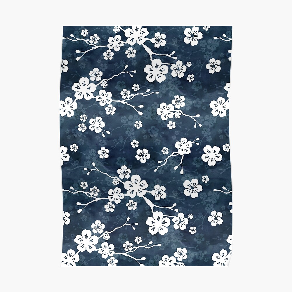 Navy and white cherry blossom pattern Poster