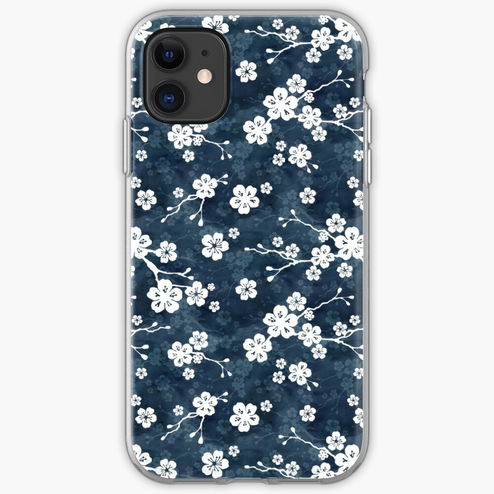 Navy and white cherry blossom pattern iPhone Case & Cover
