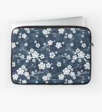 Navy and white cherry blossom pattern Laptop Sleeve