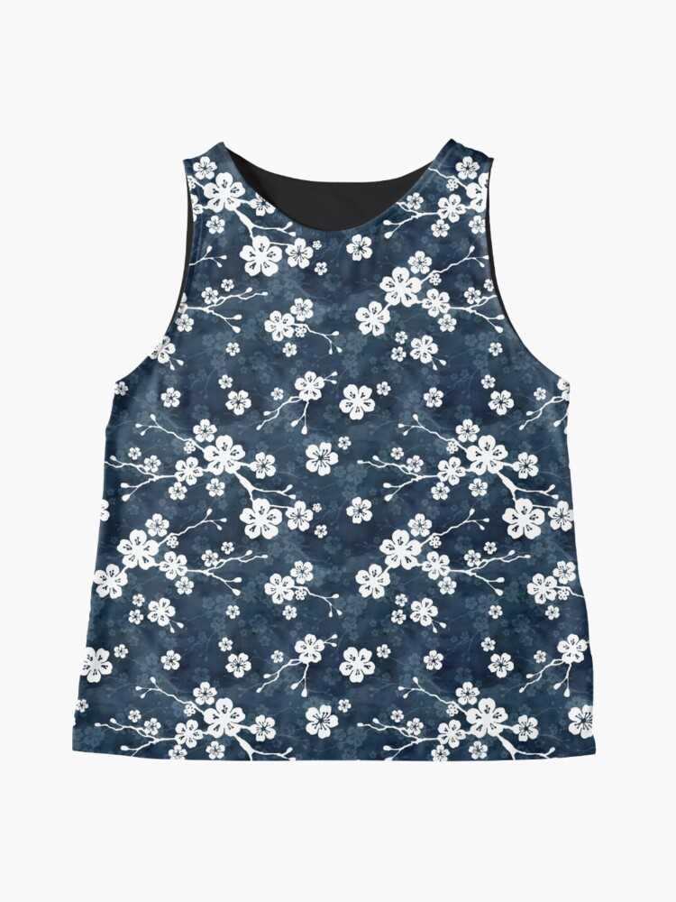 Alternate view of Navy and white cherry blossom pattern Sleeveless Top