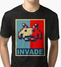 Invaders From Space, Invade Obama HOPE Parody Design 8bit Retro Video Game Pixel Alien Invasion T Shirt, tshirt, tee, jersey, poster, artwork Tri-blend T-Shirt