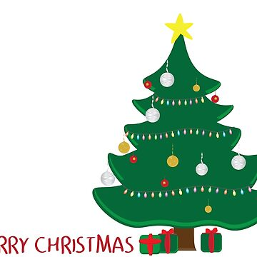Decorated Christmas tree, Green and Red gifts and merry christmas greeting on white background by sigdesign