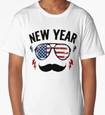 New Year with USA Flag Long T-Shirt
