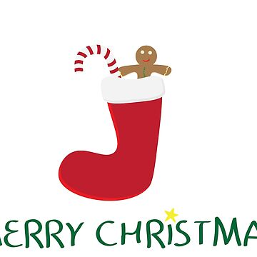 Merry Christmas logo with Red sock, gingerbread cookie, Red and white striped candy and Yellow star on white background by sigdesign