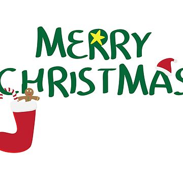 Merry Christmas logo with santa hat, Yellow star, red sock, gingerbread man cookie and Red and white striped candy by sigdesign