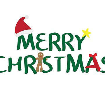 Merry Christmas logo with santa hat, Yellow star, gingerbread cookie and red ribbon on white background by sigdesign
