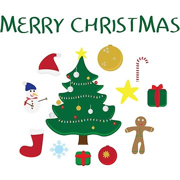 Christmas icons set and Merry Christmas greeting on white background by sigdesign