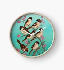 Sakura Sparrows Clock
