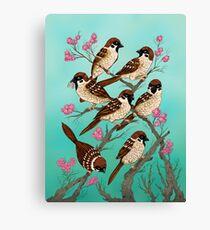 Sakura Sparrows Canvas Print