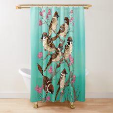 Sakura Sparrows Shower Curtain