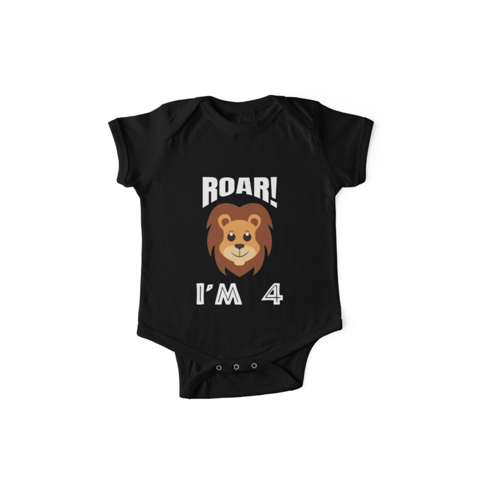 8beaae52 Kids Cute and funny Roar I'm 4 Birthday Boy Lion TShirt