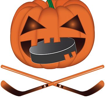 Funny Halloween Pumpkin Eating Puck Hockey by ZNOVANNA