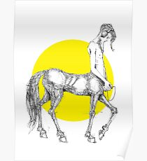 Young centaur with headphones and mp3 player Poster