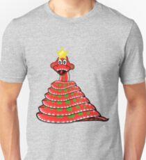 Cute Nordic pattern Christmas Tree Snake. Snek Xmas Slim Fit T-Shirt