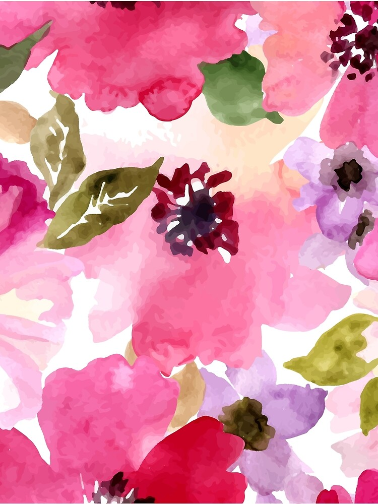 Watercolor Flowers Pink by junkydotcom