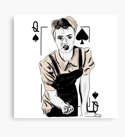 Wartime Land Girl Queen of Spades Canvas Print