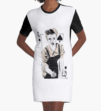 Wartime Land Girl Queen of Spades Graphic T-Shirt Dress