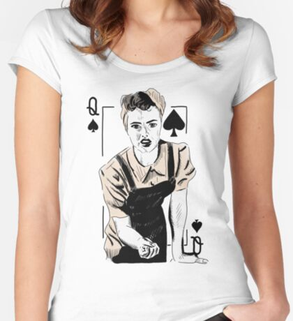 Wartime Land Girl Queen of Spades Fitted Scoop T-Shirt