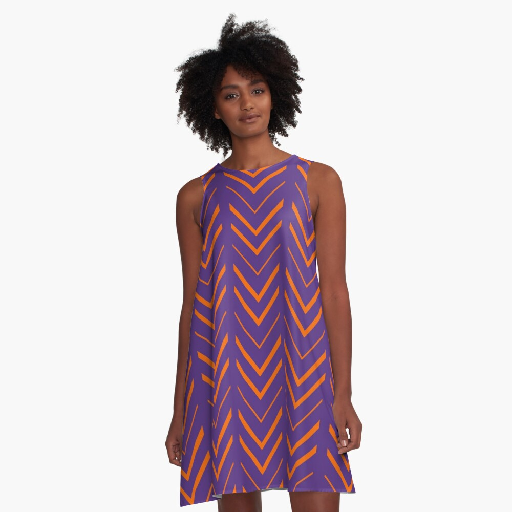 Clemson 2 | Touchdown Chevron Dress A-Line Dress Front