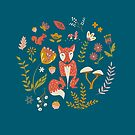 Fall Fox on Blue by latheandquill