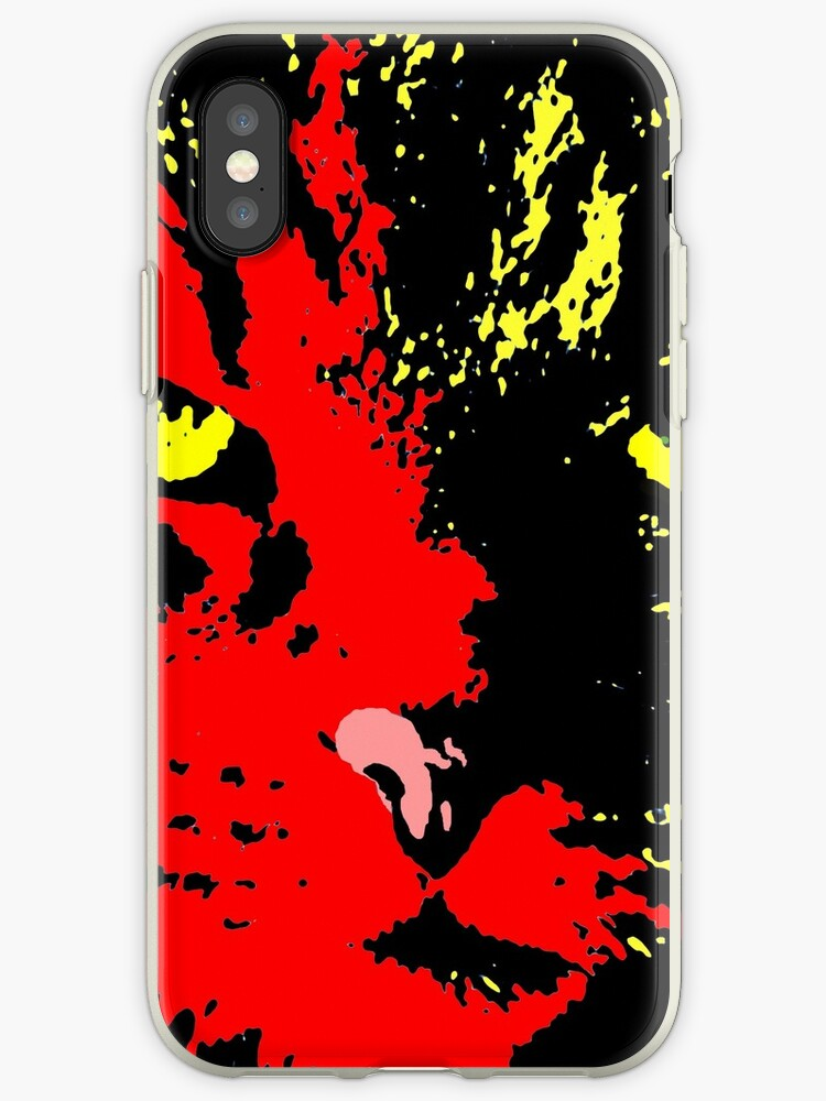 ANGRY CAT POP ART - RED BLACK YELLOW TRASPARENT by NYWA-ART