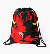 ANGRY CAT POP ART - RED YELLOW BLACK Drawstring Bag