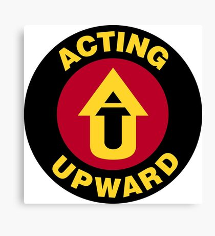 Acting Upward Logo Round Canvas Print