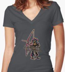 Landsknecht mit Langbogen Women's Fitted V-Neck T-Shirt