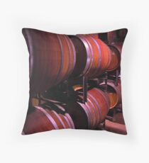 barrels in a winery Throw Pillow