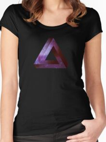 Infinite Penrose Triangle Galaxy Women's Fitted Scoop T-Shirt