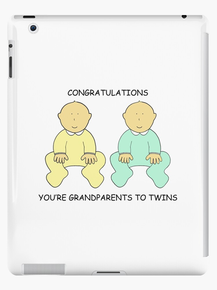congratulations you re grandparents to twins ipad cases skins by