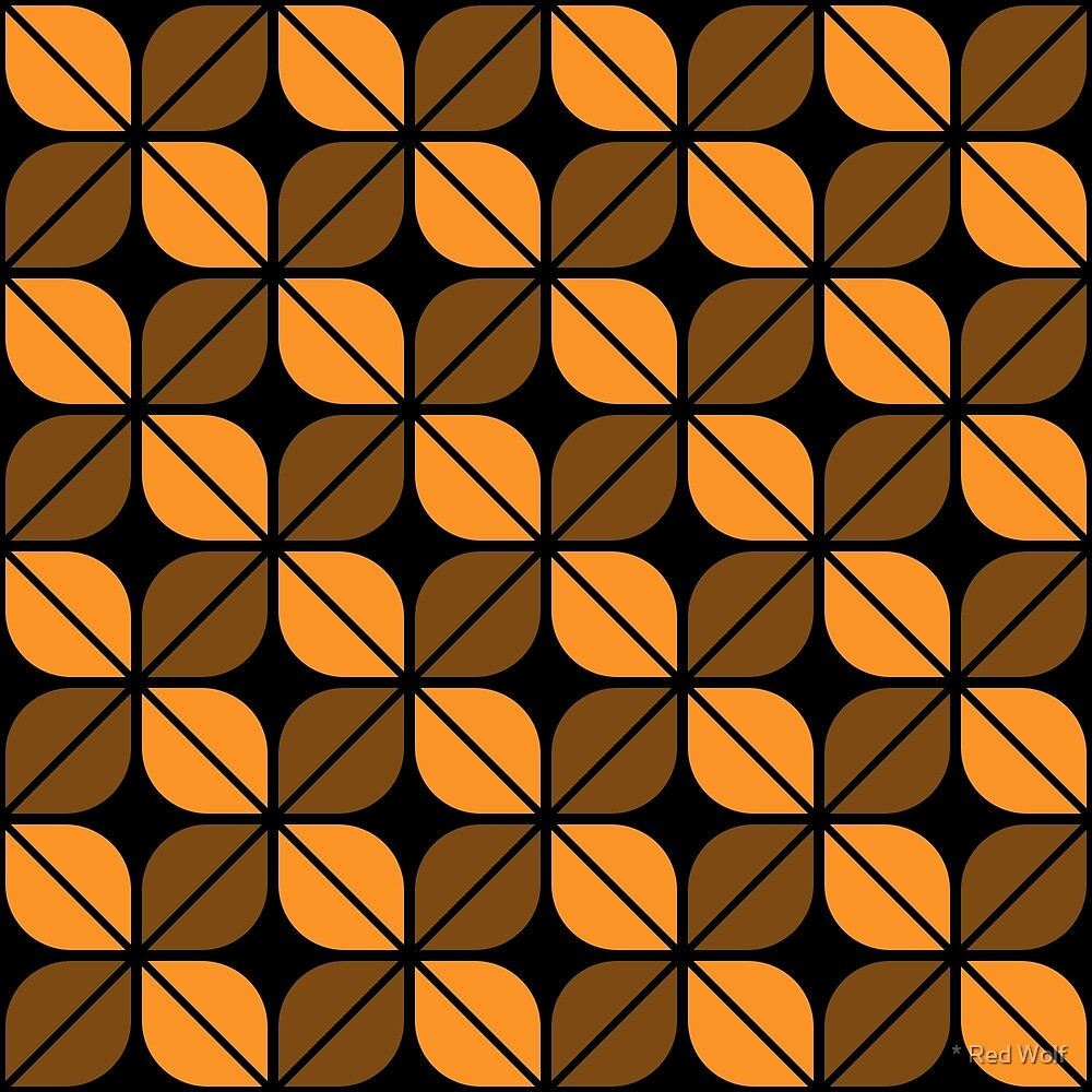 Geometric Pattern: Leaf: Orange/Black by * Red Wolf