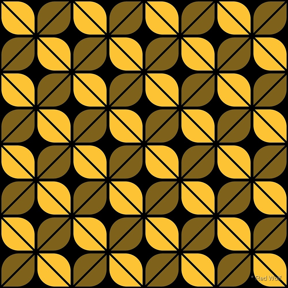 Geometric Pattern: Leaf: Yellow/Black by * Red Wolf