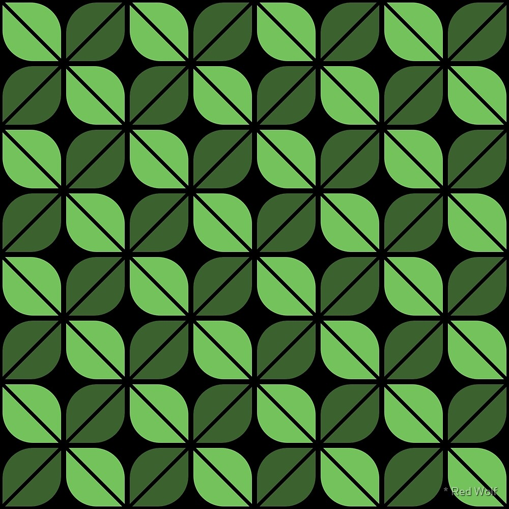 Geometric Pattern: Leaf: Green/Black by * Red Wolf