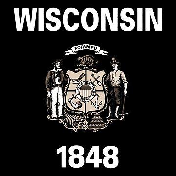 Wisconsin Flag Symbol Souvenir Gift by STYLESYNDIKAT