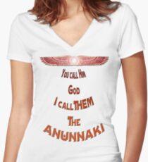 *I Call Them Anunnaki* Women's Fitted V-Neck T-Shirt