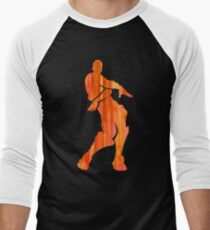 Orange Justice Fortnite Dance Shirt Sticker Print Men's Baseball ¾ T-Shirt