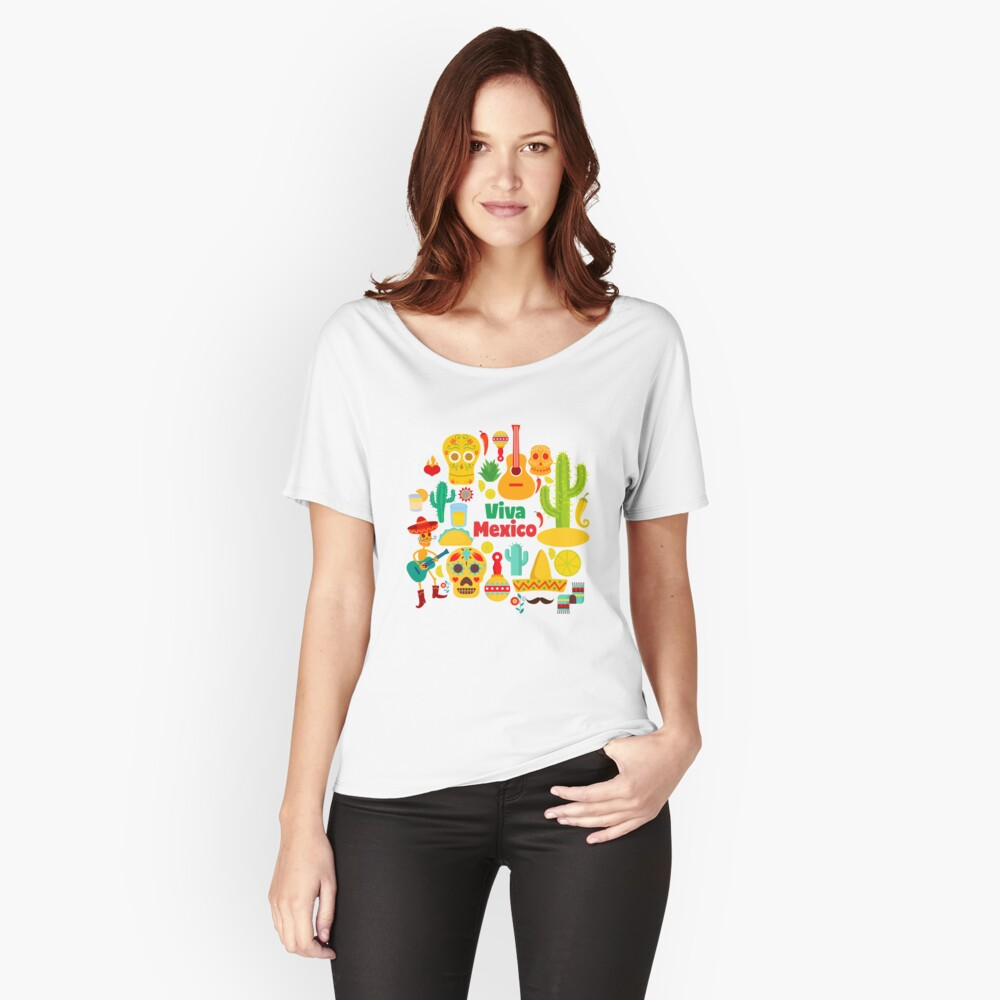 Viva Mexico - Mexican Symbols, Souvenir Gift, Illustration Relaxed Fit T-Shirt