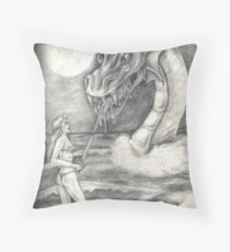 Dragon On Subconcious Shores Throw Pillow