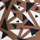 Tan, Blue-Grey and White abstract triangles by kina lakhani