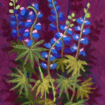 Lupines, Floral Art, Purple, Green and Blue by clipsocallipso