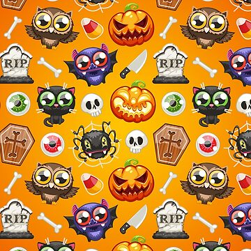 Halloween Seamless Pattern with Cartoon Characters Ogange by Voysla