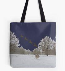 Reindeer Departure (Navy, With Elkhound) Tote Bag