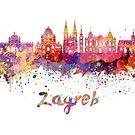 Zagreb Skyline im Aquarell von paulrommer