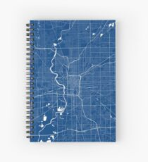 Indianapolis Map In Colts Colors Spiral Notebook