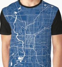 Indianapolis Map In Colts Colors Graphic T-Shirt