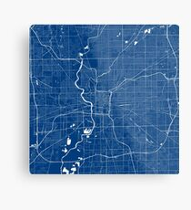 Indianapolis Map In Colts Colors Metal Print