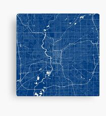 Indianapolis Map In Colts Colors Canvas Print